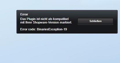 """Nach Update auf Shopware 5.3 – """"Das Plugin ist nicht als kompatibel mit Ihrer Shopware-Version markiert."""""""